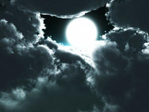the light of the full moon peeking thru the clouds, inspiration
