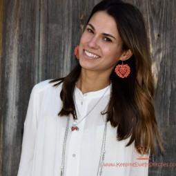 boho coral crochet earring